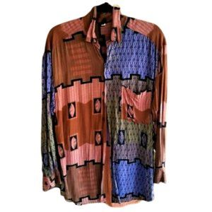 Vintage oversized multi-color print 90s shirt top